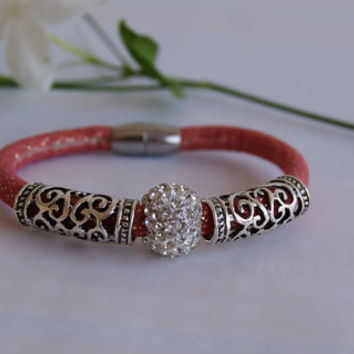 Red Russet Faux Leather Cord Bracelet Adorned with Micro Pave & Decorative Beads. Eco-Friendly. Vegan Jewellery.