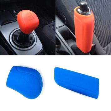 4 Colors Car-Styling Gear Head Shift knob Cover Car Hand Brake Covers Handbrake Grips Gear Shift Collars Durable Silicone