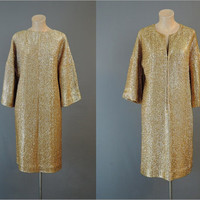 60s Gold Lurex Tunic Dress, 38 bust, Vintage 1960s Evening, Cocktail Dress, Shift