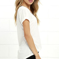 The Ringer Grey and Cream Tee
