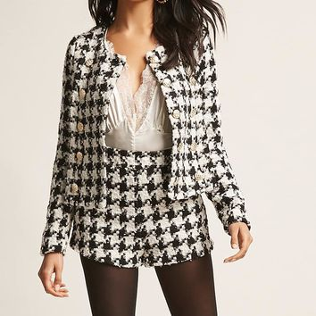 Checkered Tweed Blazer & Shorts Set