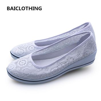 BAICLOTHING women white floral breathable mesh shoes lady cute work and nurse shoes lady casual hollow out  shoes zapatos mujer