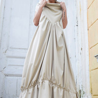 NEW!Champagne Color Maxi Dress/Long Sleeveless Princess Dress/Oversize Kaftan/Draped Loose Tunic Dress/Large Collar Maxi Tunic/Plus Size