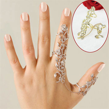 New Rings Multiple Finger Stack Knuckle Band Crystal Set Womens Fashion Jewelry