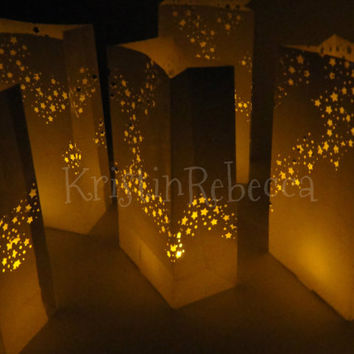 10 Star Luminary Bags with Lights Wedding or Christmas Party Decor