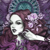In her web (purple and teal) Art Print by SadFlower