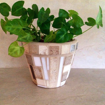 Mosaic flower pot, indoor planter, herb pot, mosaic planter, handmade terracotta pot, garden art, summer decor, outdoor planter, patio pot