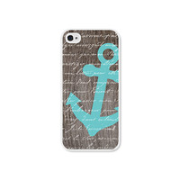 Anchor Apple iPhone 5 Case - Plastic iPhone Case - Wood Nautical iPhone 5 Cover Skin - Turquoise Blue Brown White iPhone Skin