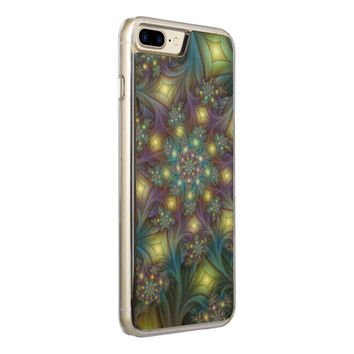 Illuminated, luminous modern Fractal Art Pattern Carved iPhone 7 Plus Case