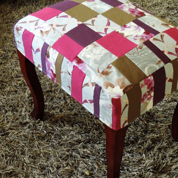 Patchwork Bench - Upholstered Footsool - Upcycled Piano Bench - Upholstered Vintage Chair in Handmade Patchwork fabric - pink purple flowers