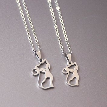 1pc Little Fox Stainless Steel Necklace Cat Pendants Necklaces For Couples Sisters Women Kids Fashion Memorial Jewelry