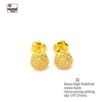 Jewelry Kay style Men's Bling Icy 14K Gold Plated Round Screw Back Stud Earrings SE 11617 G