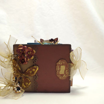 brown and gold mini art journal // premade scrapbook journal // smash book // butterfly and flowers mini album