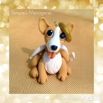 Welsh Corgi Pet Angel Christmas decoration ornament made from Polymer clay Handmade dog figurine