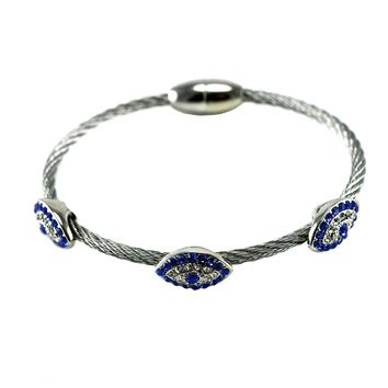 Keturum Triple Crystal Evil Eye Charm Silver Cable Bracelet