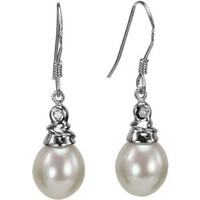 Crystal Top 8-9mm Drop Cultured Pearl Silver Earrings, White