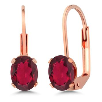 1.60 Ct Oval 7x5mm Red Mystic Topaz Rose Gold Plated Brass Leverback Earrings