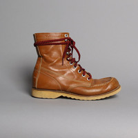 1960s LUMBERJACK BOOTS / Brown Leather Lace Up Work Boots, 7