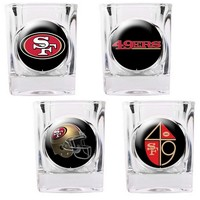 San Francisco 49ers 4-pc. Square Shot Glass Set (Black/Gold/Red)