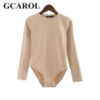 GCAROL 2018 Women Bodysuits Bikini Bottom With Snap Closures Stretch Slim Euro Style Full Sleeve O-Neck Basic Bodysuits