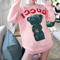 """""""Gucci"""" Fashion Casual Solid Color Loose Cartoon Letter Pattern Print  Round Neck Long Sleeve T-shirt Sweater"""