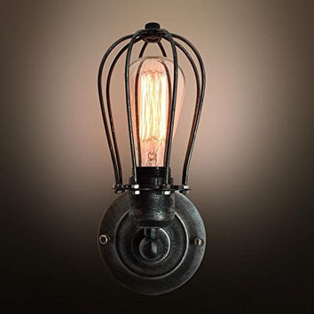Vintage Industrial Big Cage Light Wall Sconce - hallway wall light- living room wall sconce- rustic wall light