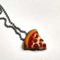 Pepperoni Pizza Slice Necklace, Polymer Clay Jewelry, Miniature Food
