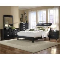 3 PC Bella Bedroom Set in Black Finish (Bed and Two Night Stands) | Bedroom sets