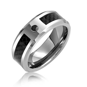 Black CZ Carbon Fiber Inlay Wedding Band Tungsten Ring For Men 8mm