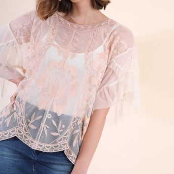 Umgee Sheer Lace Top