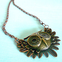 HOLIDAY SALE 15% off Copper & Brass Owl Fantasy Necklace in Antique Brass and Copper Gilder's Paste from Dryad Dreams