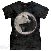YIN YANG WOLVES Womens T-Shirt Black White Wolf Moon The Mountain Top S-2XL NEW!