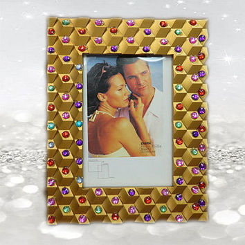 5x7 Frame - Gold Frame - Girls Frame - Bridesmaid Gifts - Wedding Gifts - Rhinestone Frames - Mother Of The Bride Gifts - Gifts For Aunt