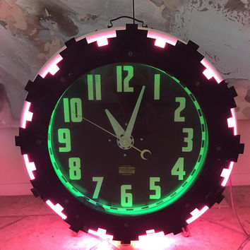 1920s Art Deco American Aztec Neon Clock with pink and green double neon / Electrical Cleveland Neon Company / Working All Original Parts