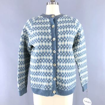 Vintage 1970s Nordic Wool Cardigan Sweater / Sky Blue