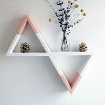 Double Triangle Shelf for flowers,triangular shelf for flowers,Wooden Triangle Shelves,Geodesic Shelves,Geometric Shelves,Nursery Decor