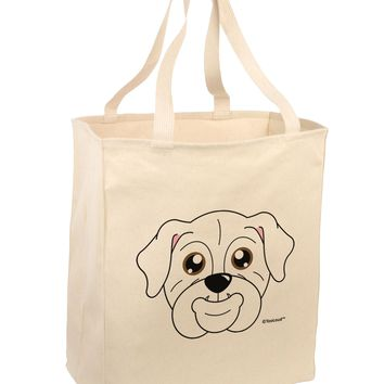 Cute Bulldog - White Large Grocery Tote Bag by TooLoud