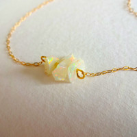 Rough Opal 3 Charm Bar and 14k Gold Chain Necklace
