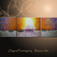 ORIGINAL Painting Large painting Abstract Painting Zen Art Lotus Flower Modern Wall Art Set Triptych Painting Zen Art Large Canvas Art
