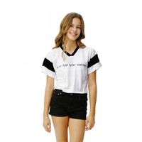 Tyler Oakley Short Sleeve Crop Top AT1133BK