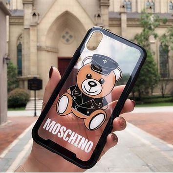 MOSCHINO New Popular Lovely Bear Print Transparent Glass Soft iPhone Phone Cover Case For iphone 6 6s 6plus 6s-plus 7 7plus iPhone 8 8 Plus iPhone X Black I13559-1