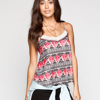 Full Tilt Tribal Rose Womens Lace Trim Tank Multi  In Sizes