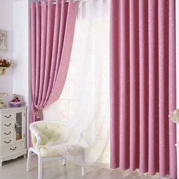 Cute Pink 1 Panel Star Blackout Curtains For Bedroom Living Room