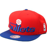 Mitchell & Ness Washington Bullets Big Logo Snapback Hat in Red & Blue