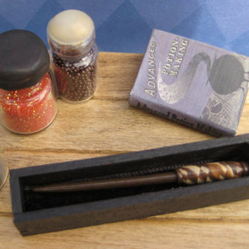 Harry Potter Inspired Miniature Wand and Wand Display Box by LittleWooStudio