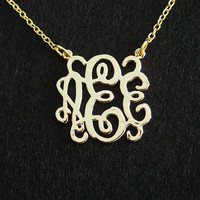3 initial monogram necklace, Personalized Necklace, 18K gold Necklace for her, sister, mom, Grandma, mommy, personalized necklace for her