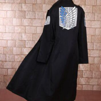 Cool Attack on Titan anime cosplay  cape wings of dom cosplay black anime cape anime cosplay anime cloak long AT_90_11
