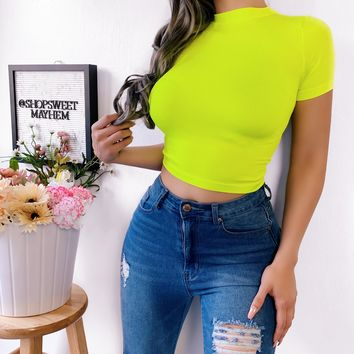 SHINE BRIGHT HIGH NECK TOP (NEON LIME)