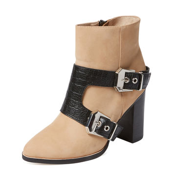 Molly Double Buckle Leather Bootie