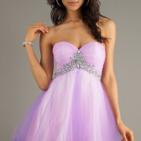 Short Strapless Tulle Skirt Prom Dress